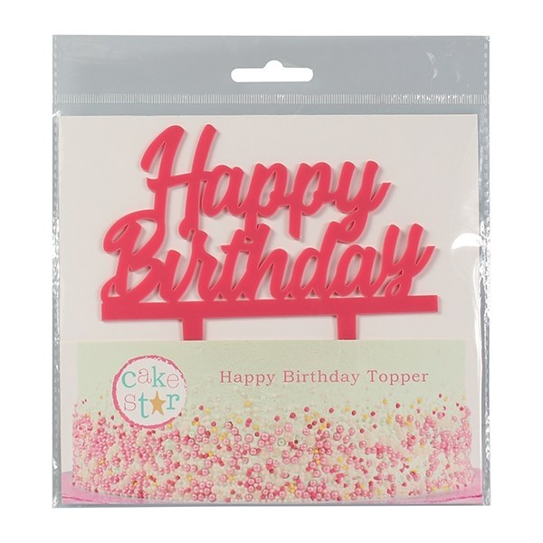 Cake Topper Happy Birthday rosa - Culpitt in vendita su Sugarmania.it