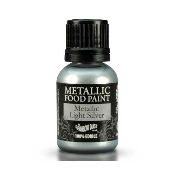 Food Paint Metalic Light Silver - Rainbow Dust in vendita su Sugarmania.it