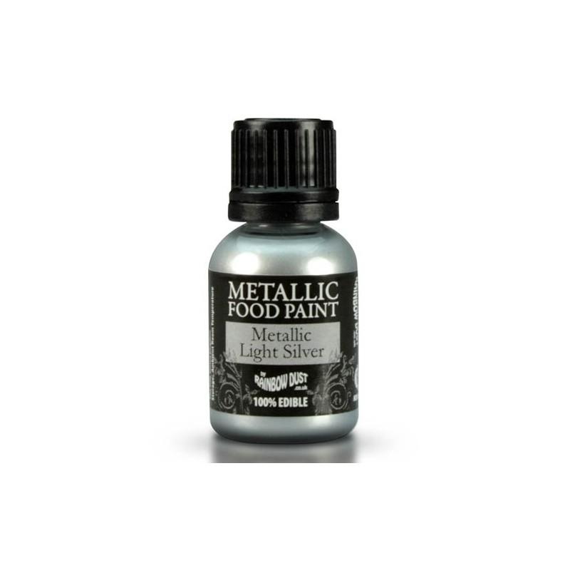 Food Paint Metalic Light Silver - Rainbow Dust in vendita su Sugarmania.it