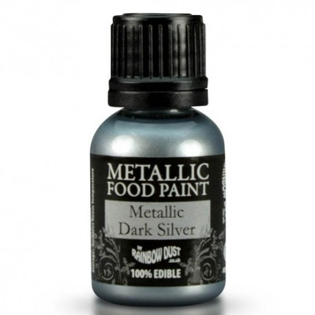 Food Paint Metalic Dark Silver - Rainbow Dust in vendita su Sugarmania.it