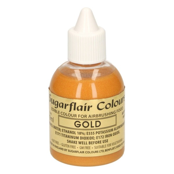 Colorante per aerografo ORO Sugarflair 60 ml  - Sugarflair in vendita su Sugarmania.it