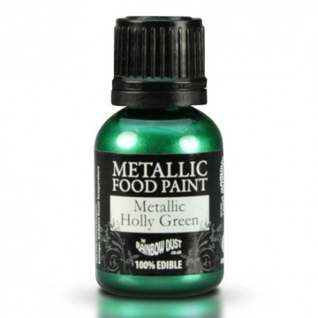 Food Paint Metalic Holly Green - Rainbow Dust in vendita su Sugarmania.it