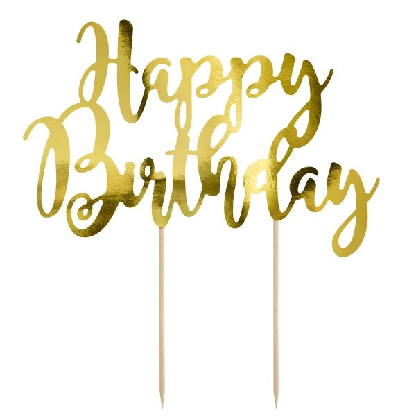 Cake Topper Happy Birthday oro Partydeco - PartyDeco in vendita su Sugarmania.it