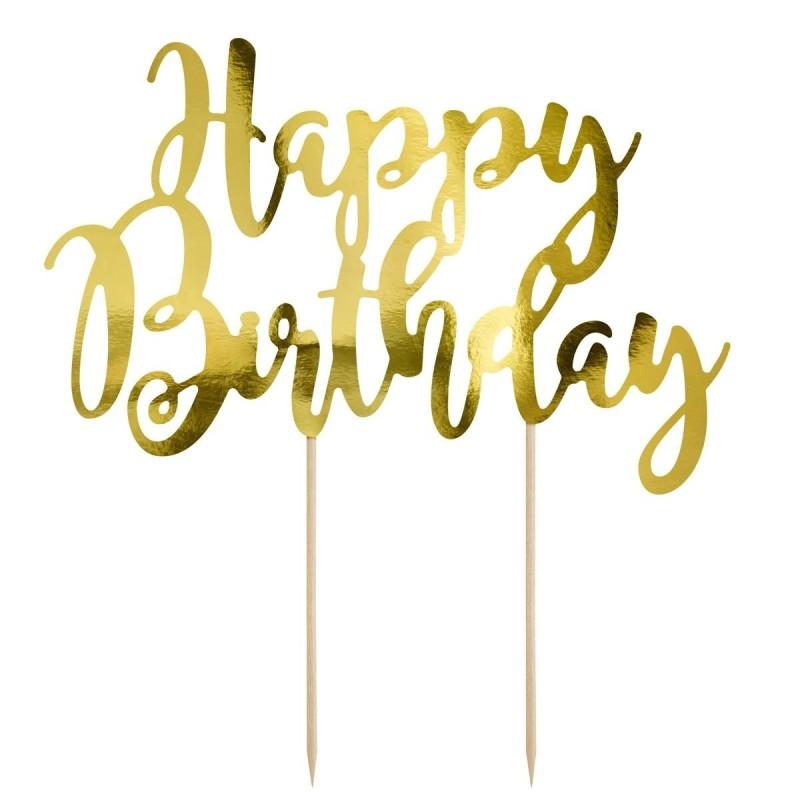 Cake Topper Happy Birthday oro Partydeco - PartyDeco in vendita su Sugarmania.it