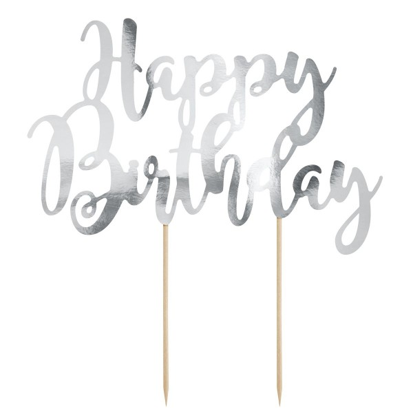 Cake Topper Happy Birthday argento Partydeco - PartyDeco in vendita su Sugarmania.it