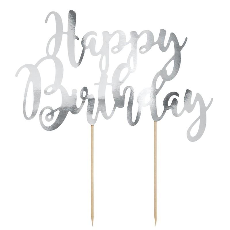 Cake Topper Happy Birthday argento Partydeco - PartyDeco in vendita su Sugarmania.it