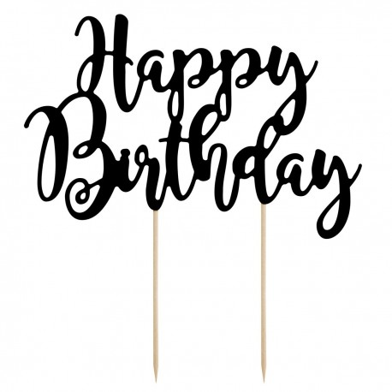 Cake Topper Happy Birthday nero Partydeco - PartyDeco in vendita su Sugarmania.it