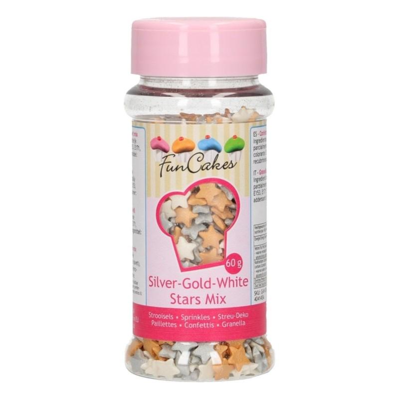Zuccherini stelline mix 60 g FunCakes - Funcakes in vendita su Sugarmania.it