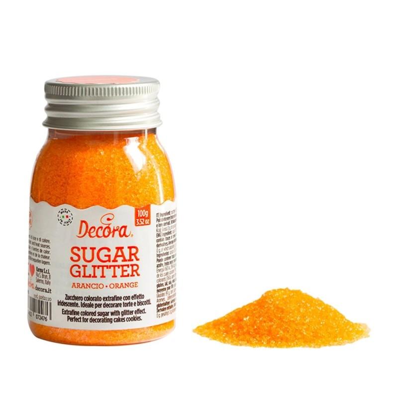 Zucchero glitterato arancio Decora 100g - Decora in vendita su Sugarmania.it