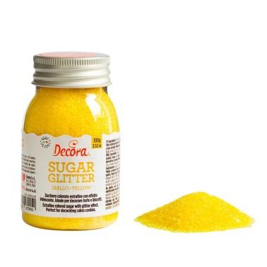 Zucchero glitterato giallo Decora 100g - Decora in vendita su Sugarmania.it