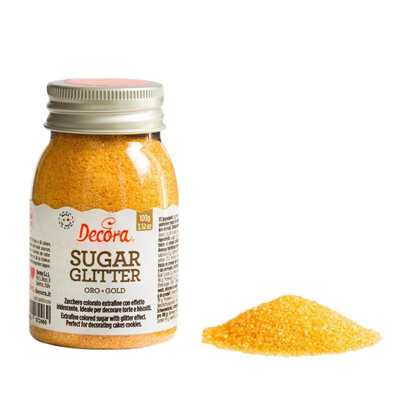 Zucchero glitterato oro Decora 100g - Decora in vendita su Sugarmania.it