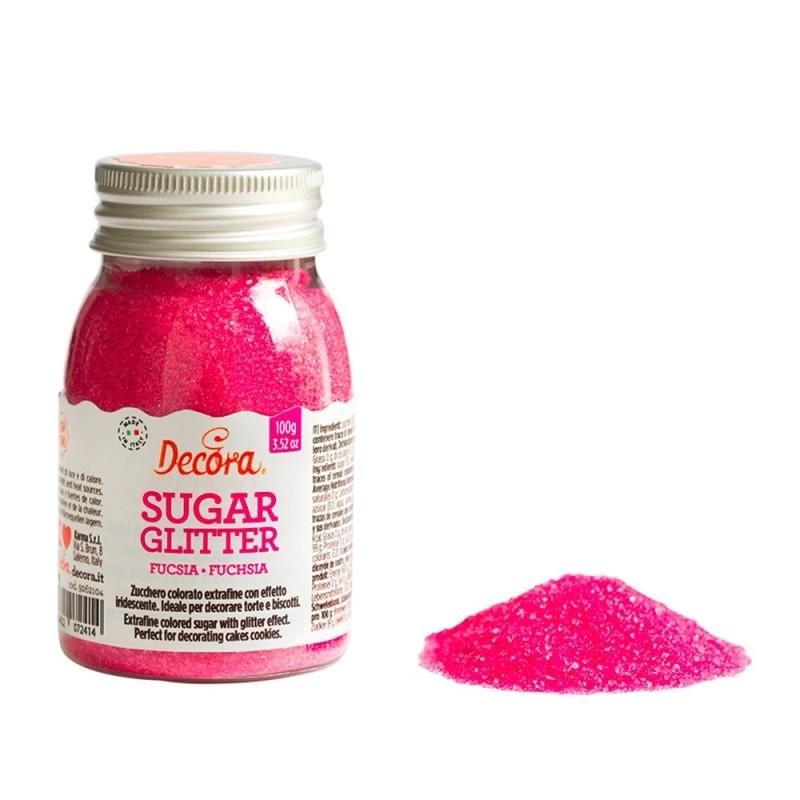 Zucchero glitterato fucsia Decora 100g - Decora in vendita su Sugarmania.it