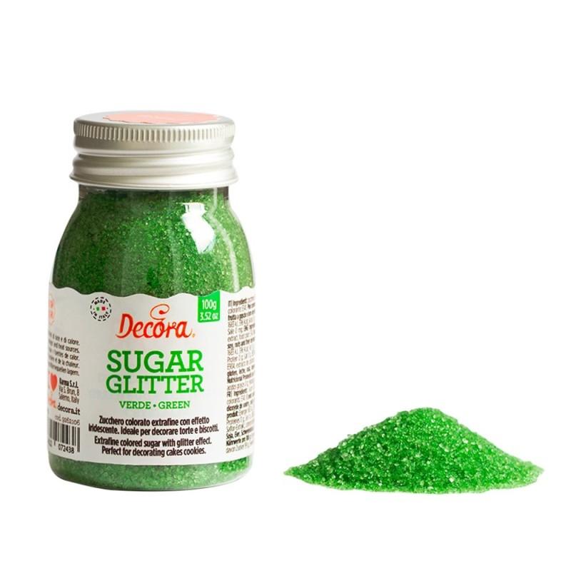 Zucchero glitterato verde Decora 100g - Decora in vendita su Sugarmania.it