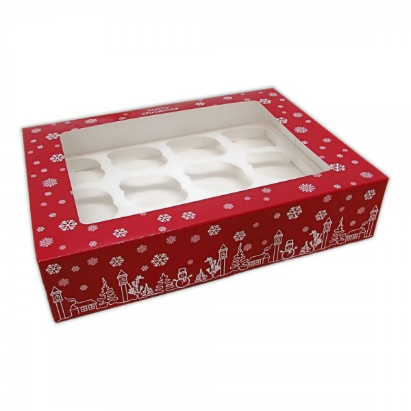 SET 10 scatole Natale per 12 cupcake  -  in vendita su Sugarmania.it