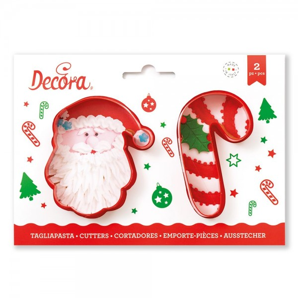 Set 2 tagliapasta Babbo Natale e candy cane - Decora in vendita su Sugarmania.it