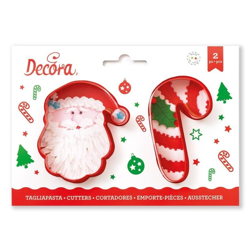 Set 2 tagliapasta Babbo Natale e candy cane - Decora in vendita su Sugarmania.it