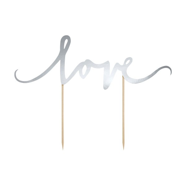 Cake Topper Love argento PartyDeco - PartyDeco in vendita su Sugarmania.it