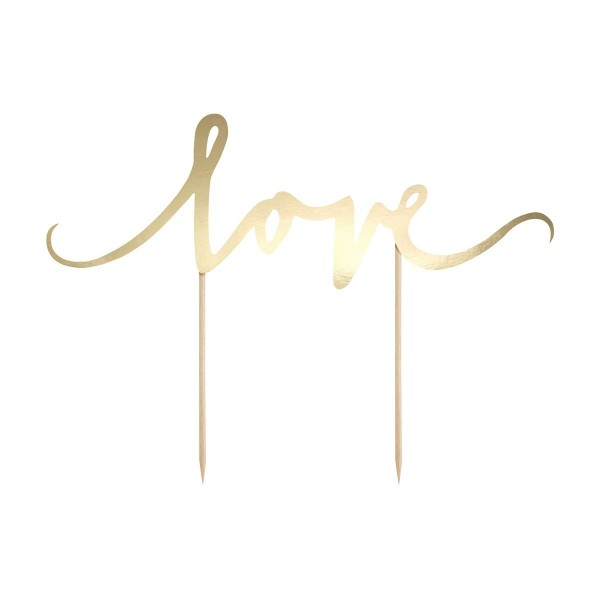 Cake Topper Love oro PartyDeco - PartyDeco in vendita su Sugarmania.it