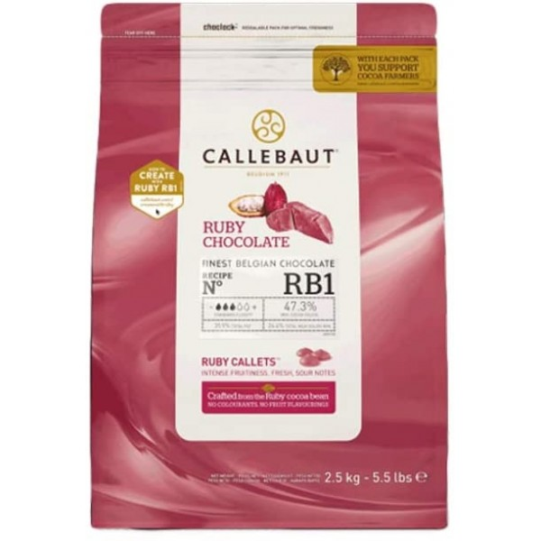 Cioccolato belga Ruby RB1 Callebaut 2,5 kg - Callebaut in vendita su Sugarmania.it