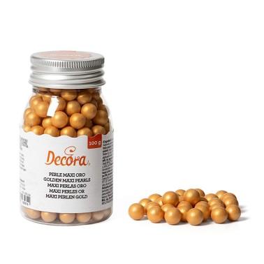 Maxi perle di zucchero oro Decora 100 g - Decora in vendita su Sugarmania.it