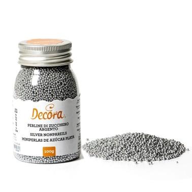 Perline di zucchero argento Decora 100 g - Decora in vendita su Sugarmania.it