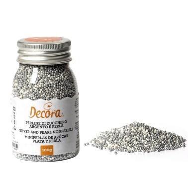 Perline di zucchero argento e perla Decora 100 g - Decora in vendita su Sugarmania.it