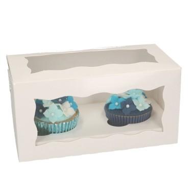 Scatola porta 2 cupcakes o muffin BIANCA -  in vendita su Sugarmania.it